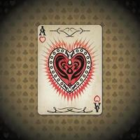 Ace hearts, poker cards old look vintage background vector