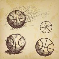Basketball ball sketch set isolated on old paper vector