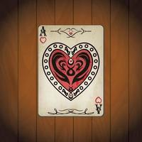 Ace hearts, poker cards old look vector