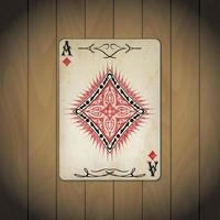 Ace of diamonds, poker cards old look vector
