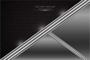moderno fondo metálico negro y plateado vector