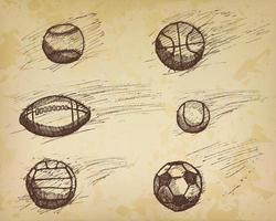 Ball sketch set with shadow and dynamic effect vector