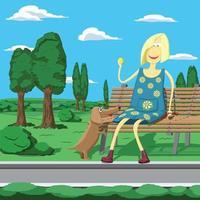 niña de dibujos animados en el parque sentada en el banco