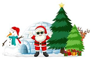 Santa Claus with snowman and christmas element on white background vector