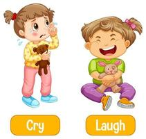 Opposite words with cry and laugh