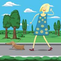 Cartoon girl walking a dog with cell phone
