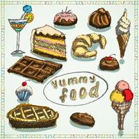 Food desserts set sketch hand drawn colored