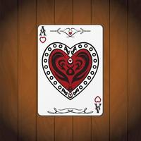 Ace hearts, poker card varnished wood background vector