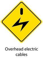 Señal de advertencia de tráfico amarillo sobre fondo blanco.
