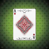 Ace of diamonds, poker cards green background