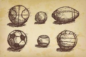 Ball sketch set with shadow on the ground vector