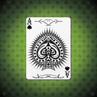 Ace of spades, poker cards green background vector