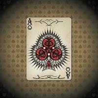 Ace of clubs poker cards old look vintage background vector