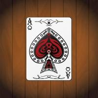 Ace of spades, poker cards varnished wood background vector