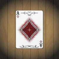 Ace of diamonds, poker card wood background vector