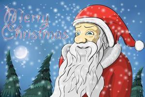 feliz navidad luna, nieve y santa claus vector