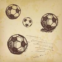 Football soccer ball sketch set on old paper vector