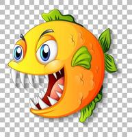 pez exótico con ojos grandes personaje de dibujos animados sobre fondo transparente vector