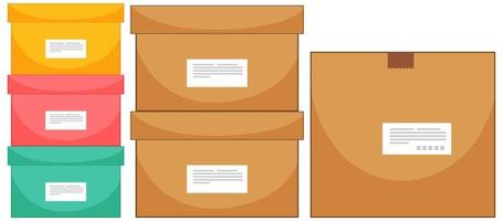 Set of different box sizes on white background vector