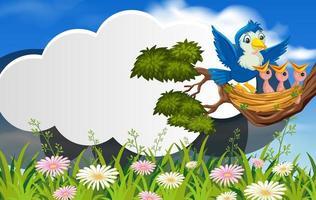 Bird in nature banner template vector