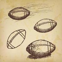 Rugby American Football sketch set on old paper vector