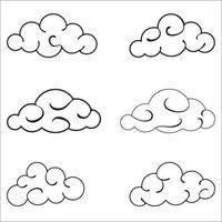 Clouds black outlined set isolated on white background vector
