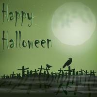 Halloween night cemetery moon ravens vector