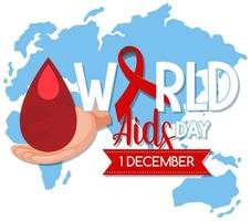 World AIDS Day logo or banner with red ribbon on world map bcakground