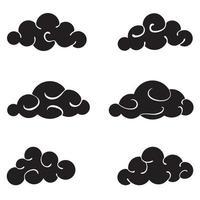 Conjunto de nubes negras aisladas sobre fondo blanco. vector
