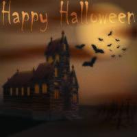 casa espeluznante de halloween con murciélagos cerca del cementerio