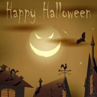 Halloween night evil moon above houses
