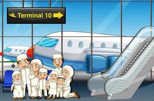 Muslim family at the airport vector