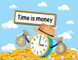 cartel de idioma con el tiempo es dinero