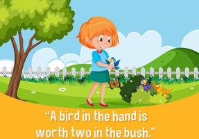 English idiom with picture description for a bird in the hand is worth two in the bush