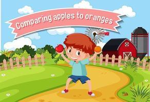 Modismo en inglés con descripción de imagen para comparar manzanas con naranjas vector
