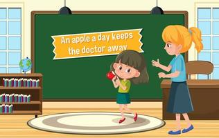 Idiom poster with An apple a day keeps the doctor away