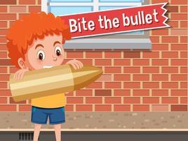 cartel de idioma con morder la bala