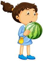 niña feliz sosteniendo sandía vector