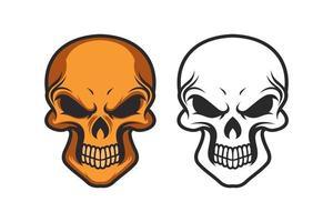 diseño de vector de cráneo sobre fondo blanco