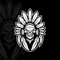 Skull Indian white color vector