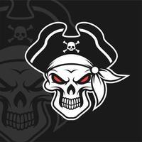 Skull pirates black white vector
