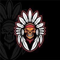 Skull Indian mascot design vector