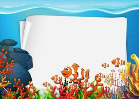 Blank paper template with exotic fishes cartoon character in the underwater scene vector