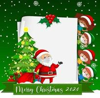 Blank paper with Merry Christmas 2020 font logo and kids wear mask vector