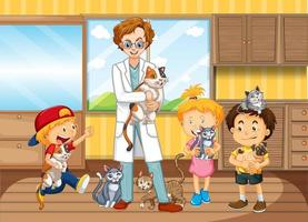 Children bring their pet to see a veterinary doctor vector