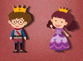 Little prince and princess cartoon character on red background