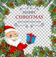 Merry Christmas and happy new year font with leaf frame and santa claus on transparent background vector