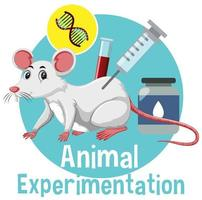 Animal Experimentation font with a white mice logo in cartoon style vector
