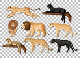 Set of isolated wild African animals on transparent background