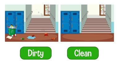 Opposite adjectives words with dirty and clean
